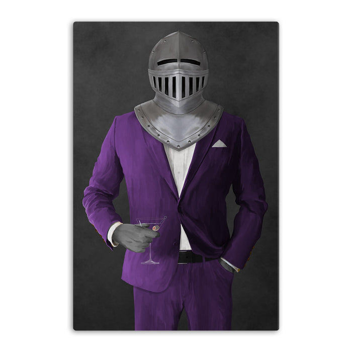 Large canvas of knight drinking martini wearing purple suit art