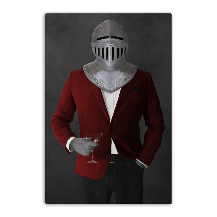 Large canvas of knight drinking martini wearing red and black suit art