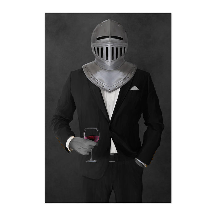 Large print of knight drinking red wine wearing black suit art