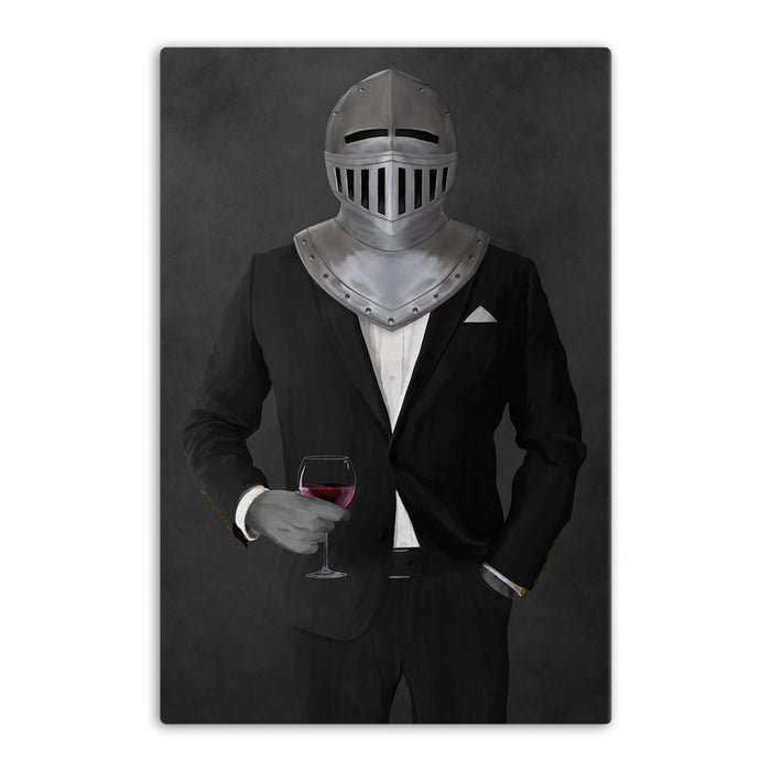 Large canvas of knight drinking red wine wearing black suit art