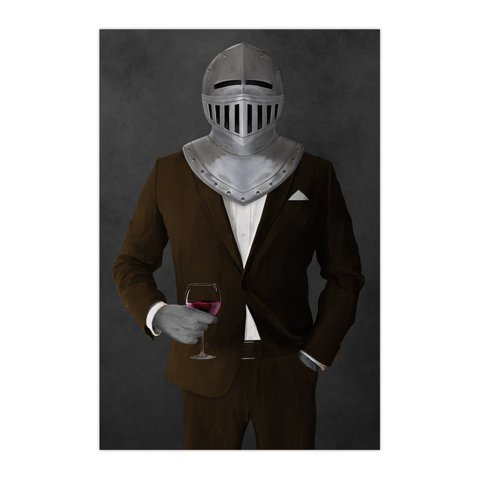 Large print of knight drinking red wine wearing brown suit art