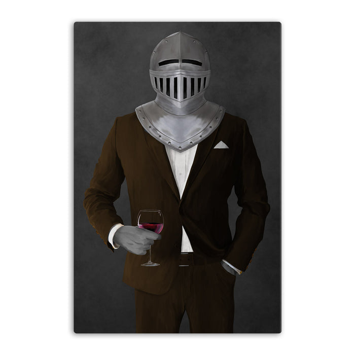 Large canvas of knight drinking red wine wearing brown suit art