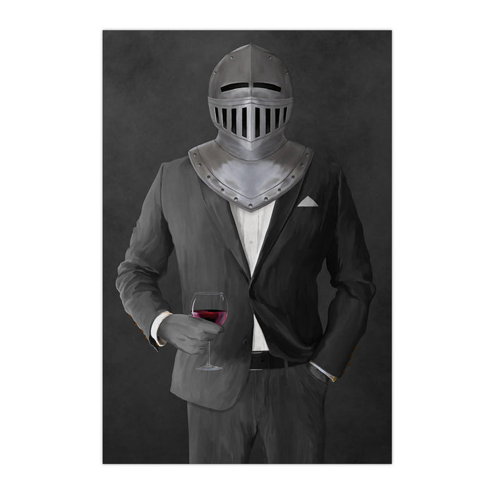Large print of knight drinking red wine wearing gray suit art