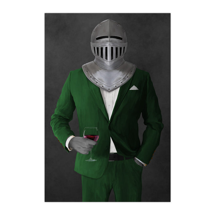 Large print of knight drinking red wine wearing green suit art
