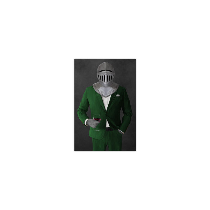 Small print of knight drinking red wine wearing green suit art