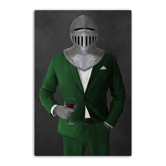 Large canvas of knight drinking red wine wearing green suit art