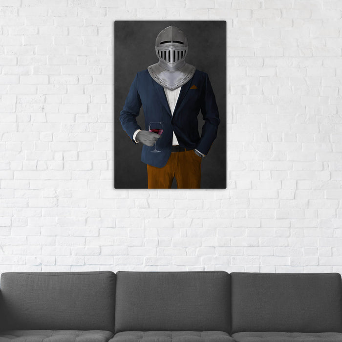 Canvas print of knight drinking red wine wearing navy and orange suit in man cave art example