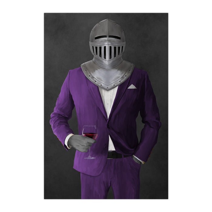 Large print of knight drinking red wine wearing purple suit art