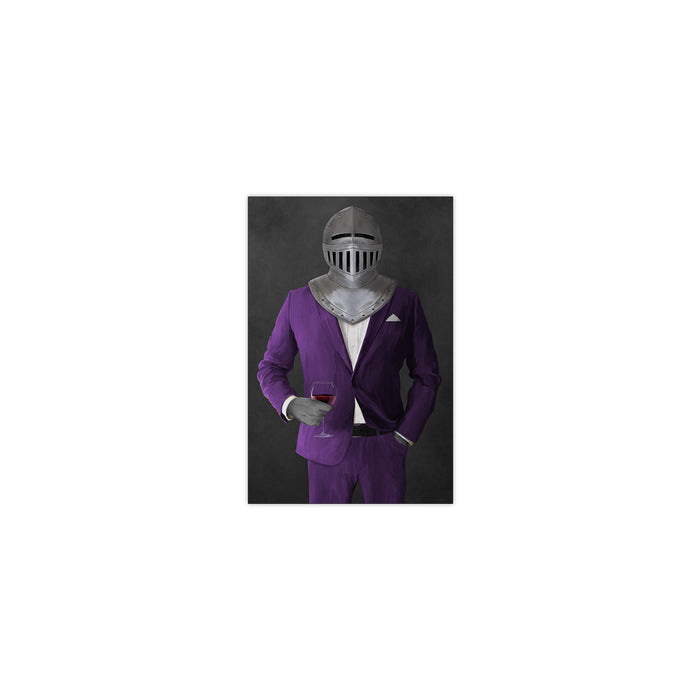 Small print of knight drinking red wine wearing purple suit art