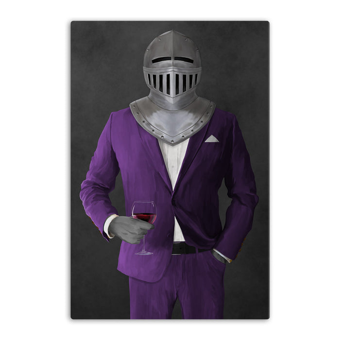 Large canvas of knight drinking red wine wearing purple suit art