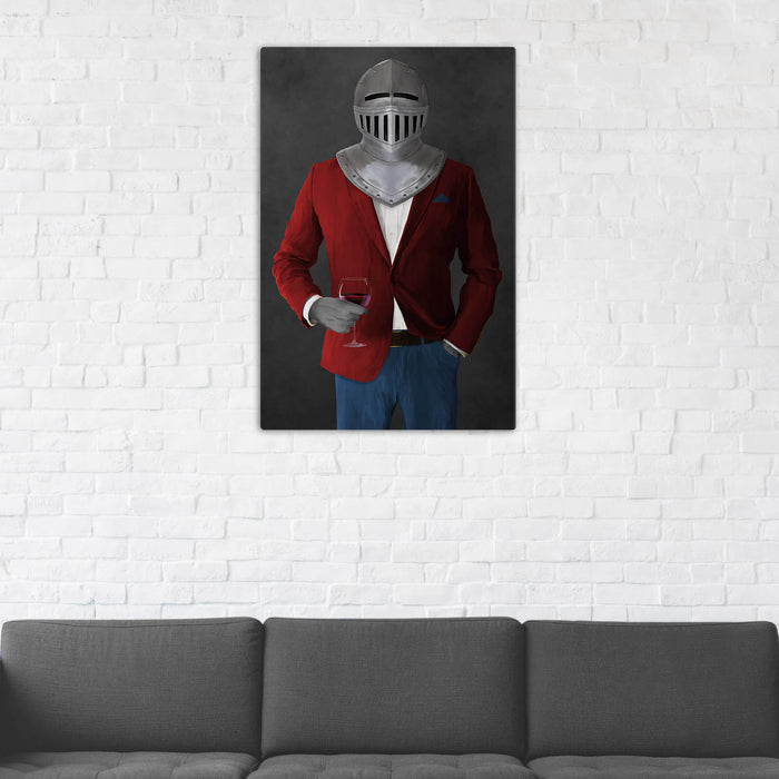 Canvas print of knight drinking red wine wearing red and blue suit in man cave art example