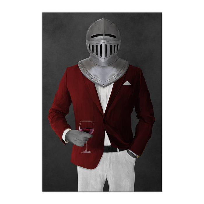 Large print of knight drinking red wine wearing red and white suit art