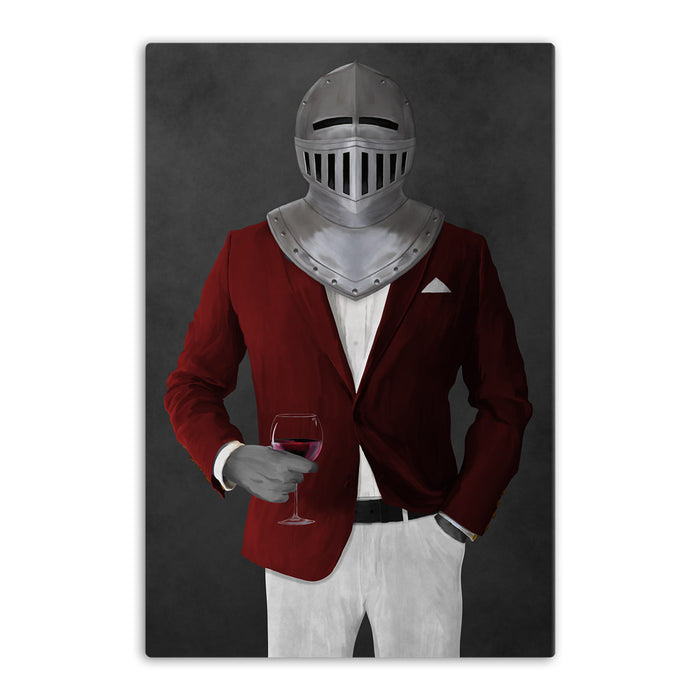 Large canvas of knight drinking red wine wearing red and white suit art