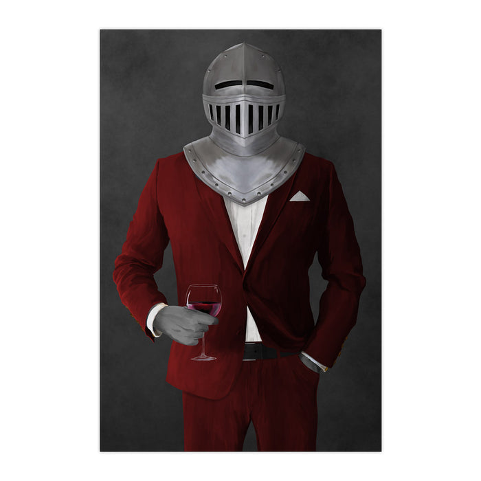Large print of knight drinking red wine wearing red suit art