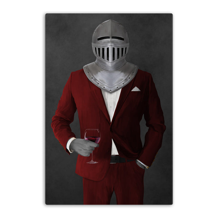 Large canvas of knight drinking red wine wearing red suit art