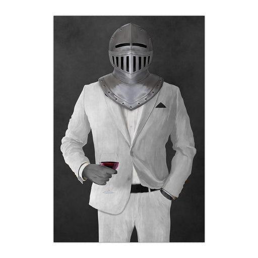 Large print of knight drinking red wine wearing white suit art