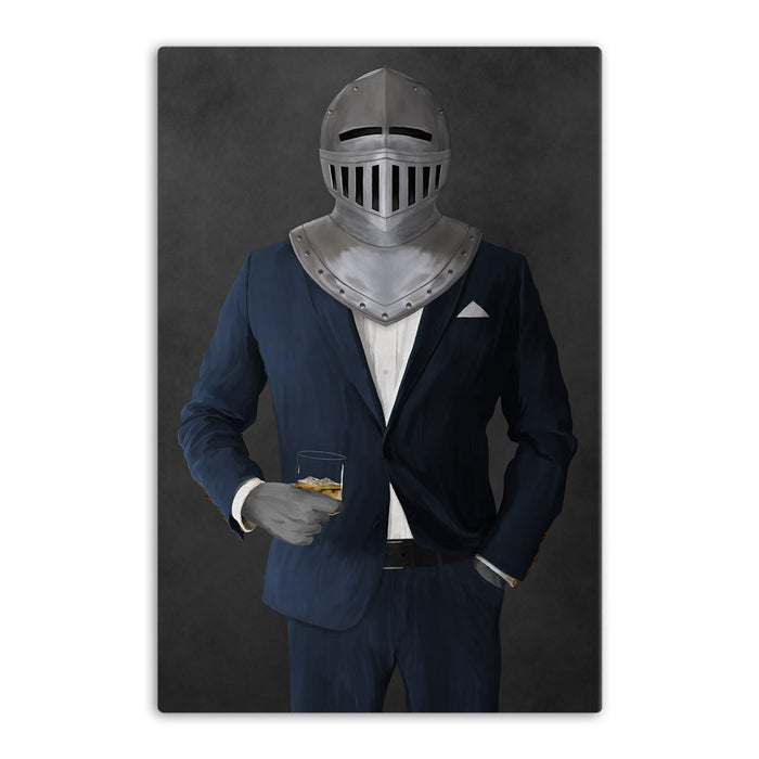 Large canvas of knight drinking whiskey wearing navy suit art