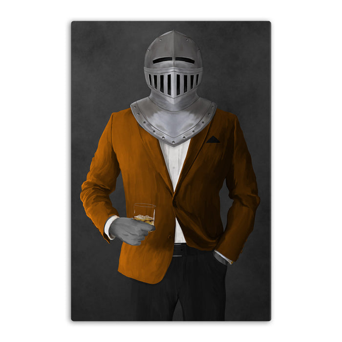 Large canvas of knight drinking whiskey wearing orange and black suit art