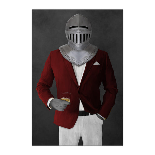 Large print of knight drinking whiskey wearing red and white suit art
