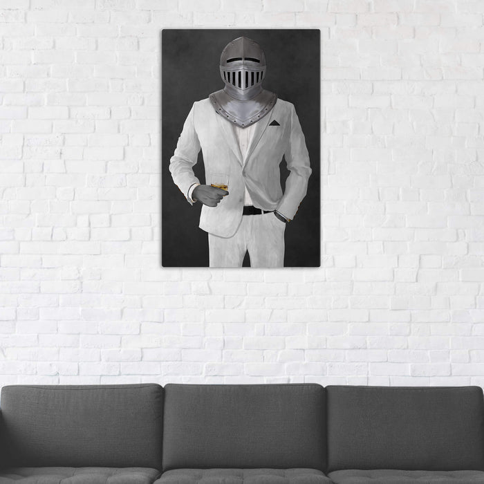 Canvas print of knight drinking whiskey wearing white suit in man cave art example