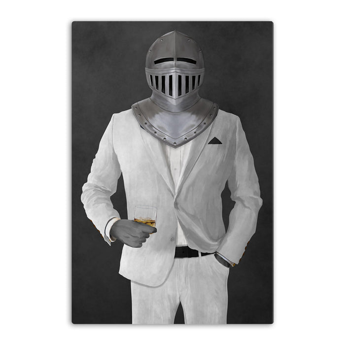 Large canvas of knight drinking whiskey wearing white suit art