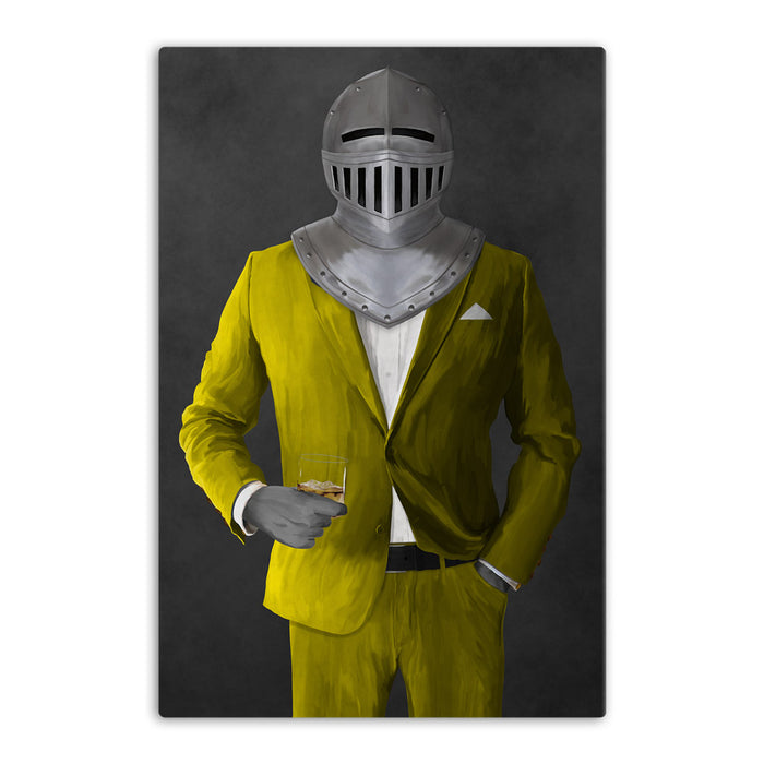 Large canvas of knight drinking whiskey wearing yellow suit art