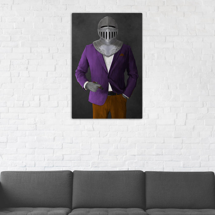 Canvas print of knight smoking cigar wearing purple and orange suit in man cave art example