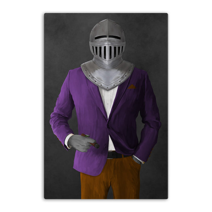Large canvas of knight smoking cigar wearing purple and orange suit art
