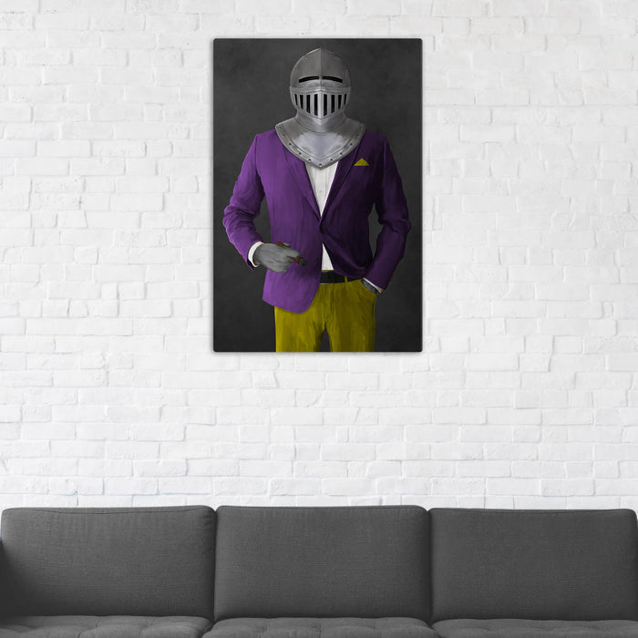 Canvas print of knight smoking cigar wearing purple and yellow suit in man cave art example