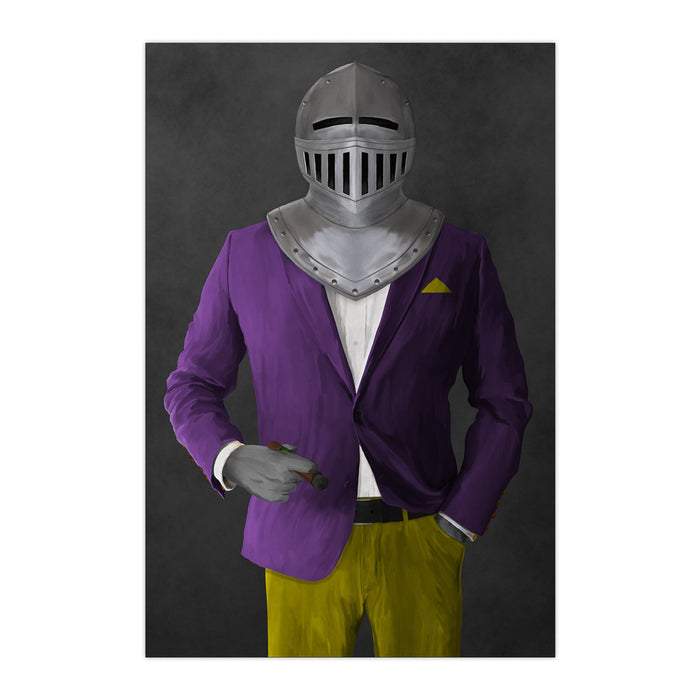 Large print of knight smoking cigar wearing purple and yellow suit art