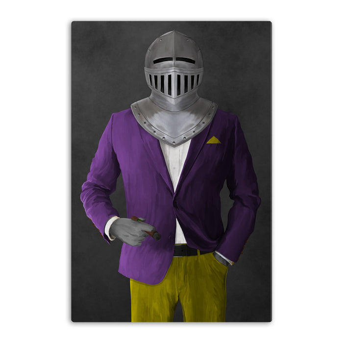 Large canvas of knight smoking cigar wearing purple and yellow suit art