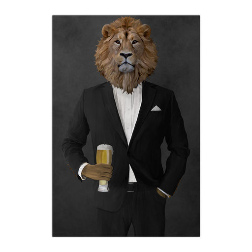 Lion Drinking Beer Wall Art - Black Suit