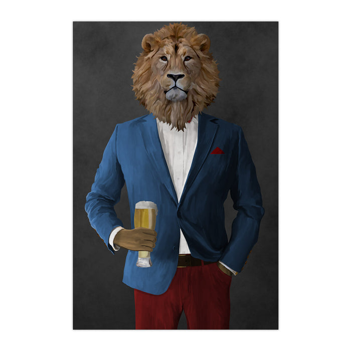 Lion Drinking Beer Wall Art - Blue and Red Suit