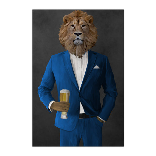 Lion Drinking Beer Wall Art - Blue Suit
