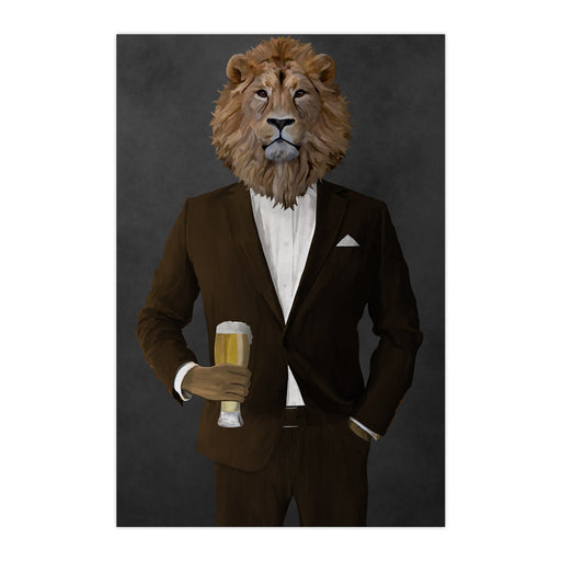 Lion Drinking Beer Wall Art - Brown Suit