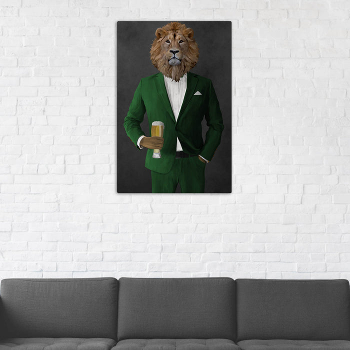 Lion Drinking Beer Wall Art - Green Suit