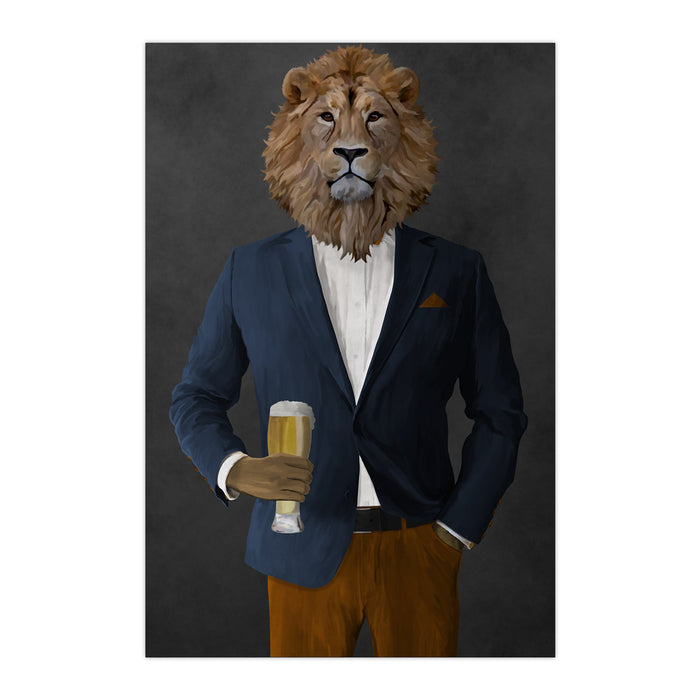 Lion Drinking Beer Wall Art - Navy and Orange Suit