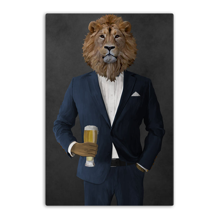 Lion Drinking Beer Wall Art - Navy Suit