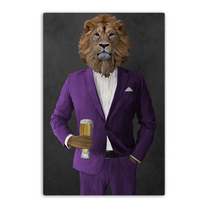 Lion Drinking Beer Wall Art - Purple Suit