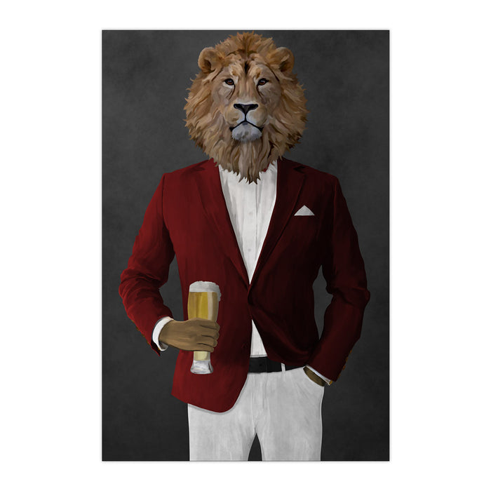 Lion Drinking Beer Wall Art - Red and White Suit