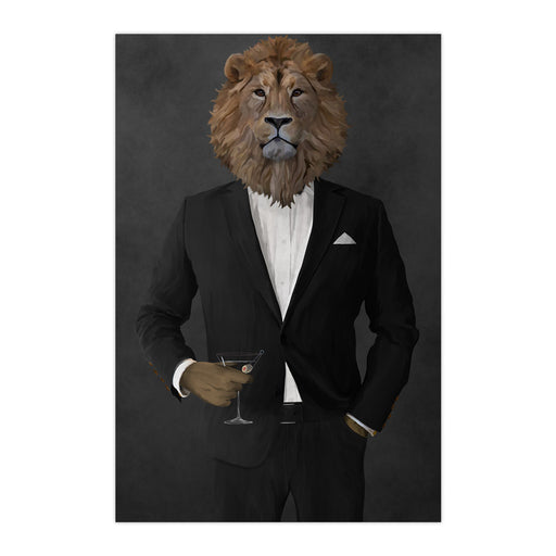 Lion Drinking Martini Wall Art - Black Suit