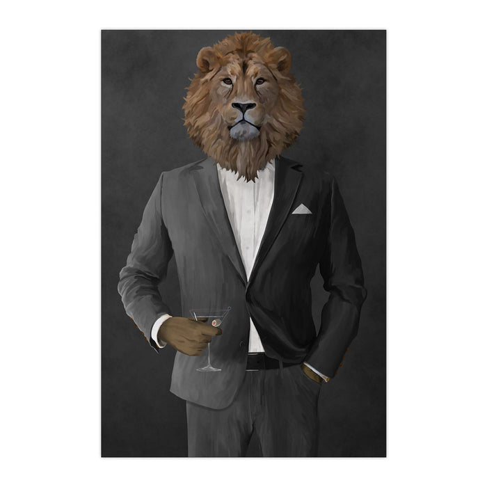 Lion Drinking Martini Wall Art - Gray Suit