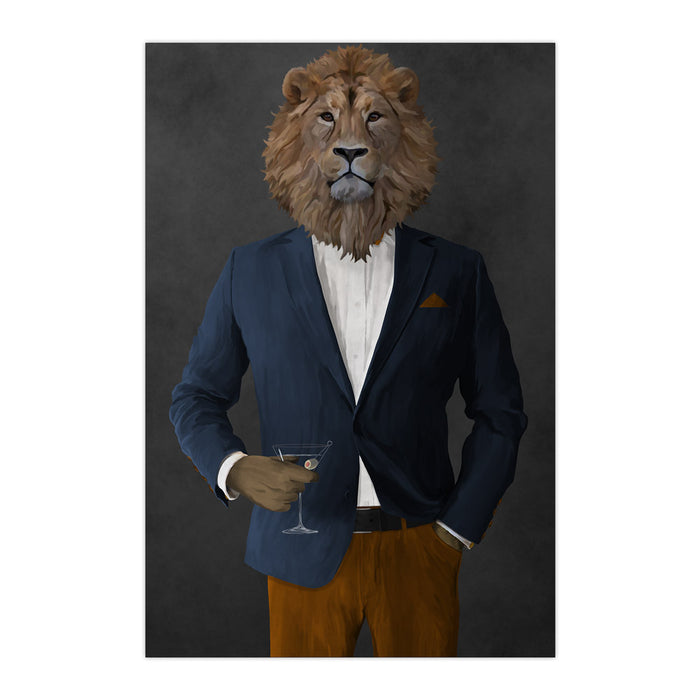 Lion Drinking Martini Wall Art - Navy and Orange Suit