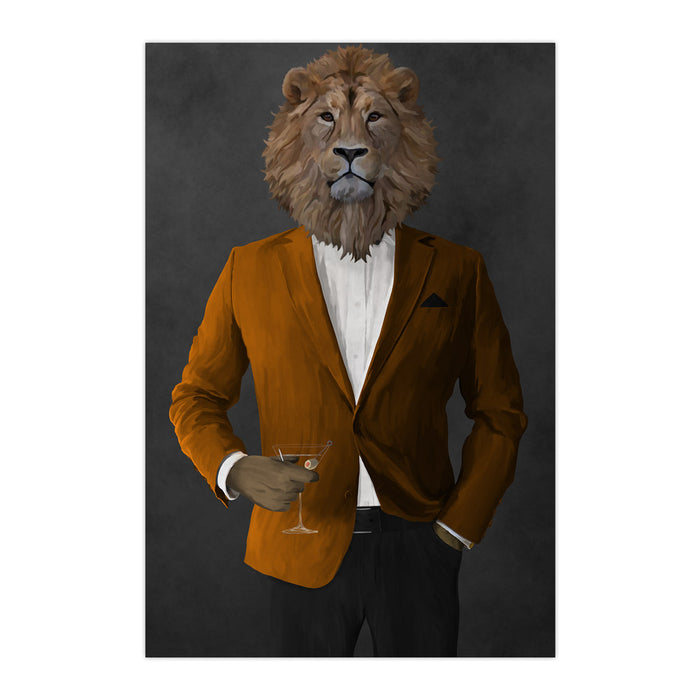 Lion Drinking Martini Wall Art - Orange and Black Suit