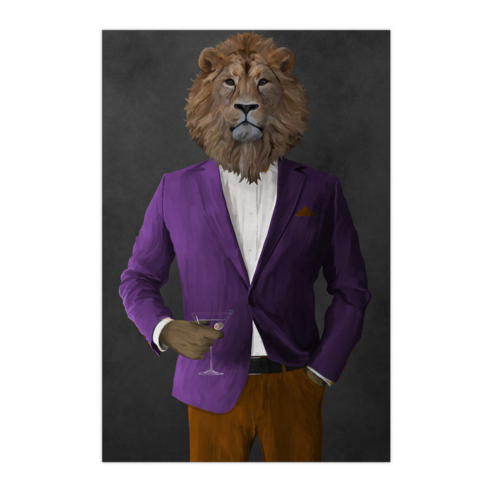 Lion Drinking Martini Wall Art - Purple and Orange Suit