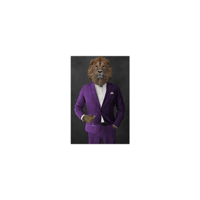 Lion Drinking Martini Wall Art - Purple Suit