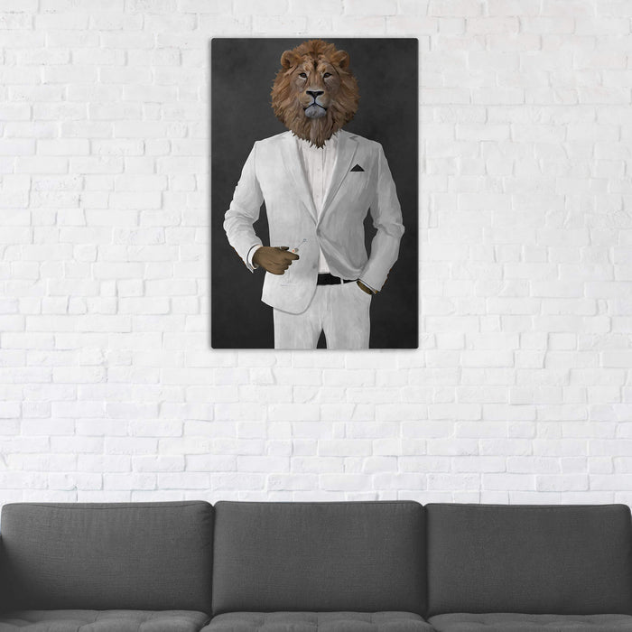 Lion Drinking Martini Wall Art - White Suit
