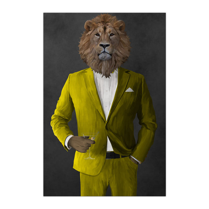 Lion Drinking Martini Wall Art - Yellow Suit