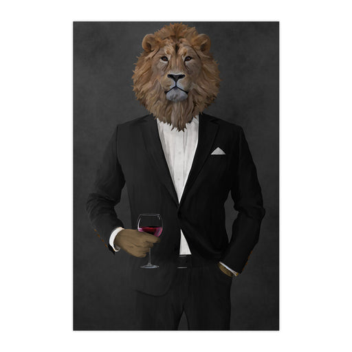 Lion Drinking Red Wine Wall Art - Black Suit