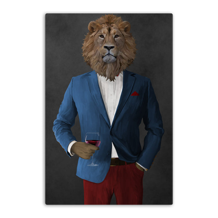 Lion Drinking Red Wine Wall Art - Blue and Red Suit
